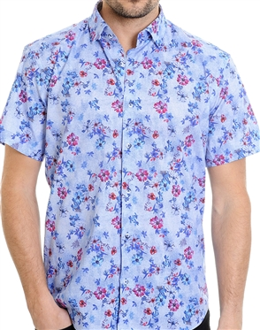 Blue Floral Pattern Shirt - Short Sleeve Luxury Dress Shirt