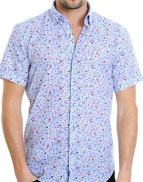 Blue Floral Pattern Shirt - Slim Fit Woven