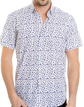 White Structural Pattern Shirt - Luxury Short Sleeve Woven