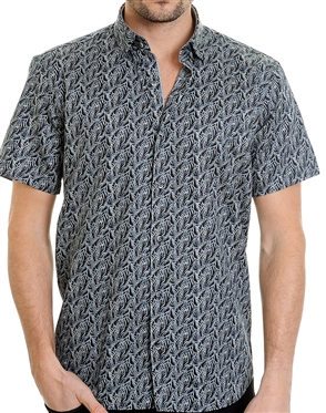 Black Geometrical Pattern Shirt - Men Casual Shirt