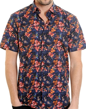 Multi-Colored Floral Pattern Shirt - Men Casual Shirt