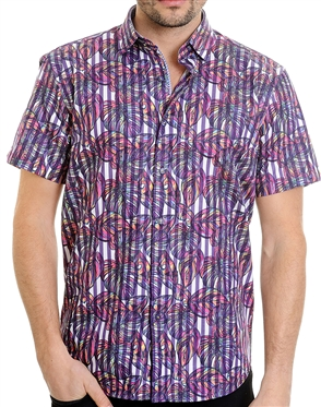Multi-Layered Stripe Floral Shirt - Luxury Short Sleeve Woven