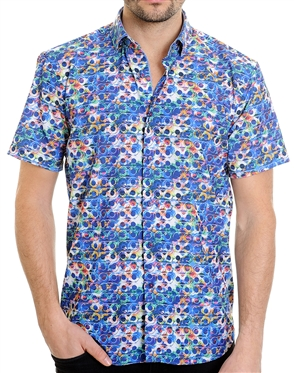 Multi Shape Pattern Shirt - Men Casual Shirt