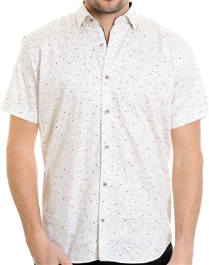Beige Dotted Pattern Shirt - Luxury Short Sleeve Woven