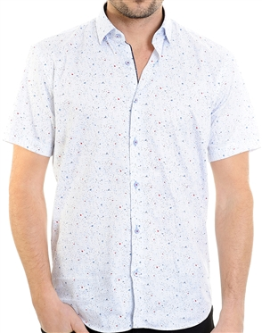 Blue Dotted Pattern Shirt - Men Casual Shirt