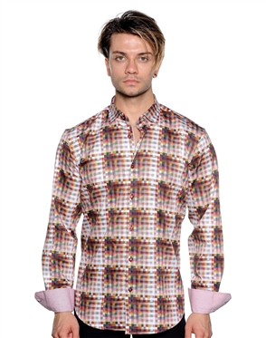 Block Check Pattern Shirt - Men Casual Shirt