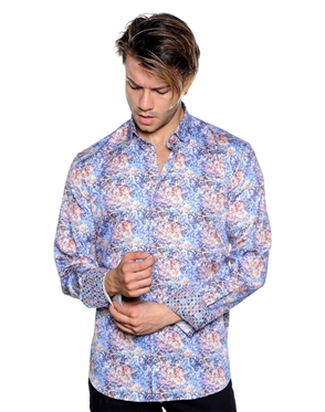 Abstract Treble Clef Print Dress Shirt - Men Casual Shirt