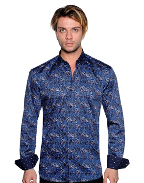 Blue Floral Paisley Print Shirt - Men Casual Shirt