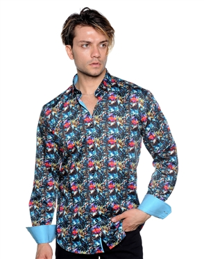 Abstract Print Shirt - Turquoise Floral Woven