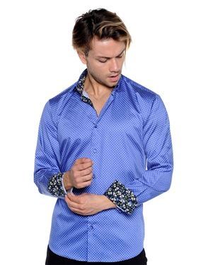 Royal Blue And White Dotted Dress Shirt - Men Casual Shirt