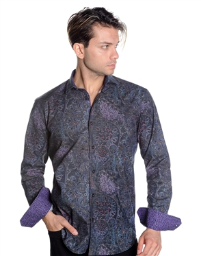 Elegant Abstract Medallion Paisley Print Shirt - Casual Sport Shirt