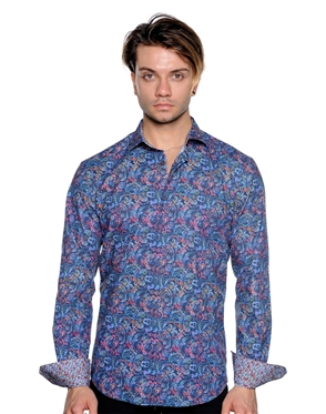 Elegant Floral Dress Shirt - Men Casual Shirt
