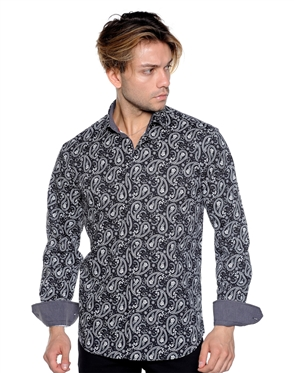 Black White Paisley Dress Shirt - Luxury Sport Shirt