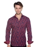 Navy Red Paisley Dress Shirt - Men Casual Shirt