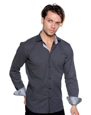Black Checkered Pattern Shirt - Men Luxury Shirt