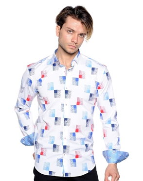 Funky Gradient Square Print Shirt - Men Casual Shirt