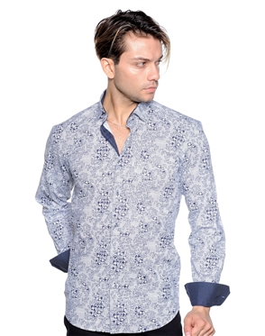 White Navy Floral Dress Shirt - Men Casual Shirt