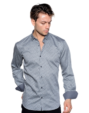Green Geometric Print Shirt - Men Casual Shirt