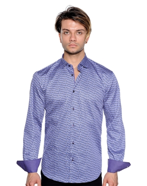 Purple Geometric Print Shirt - Luxury Sport Shirt