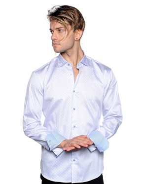 Light Blue Dotted Dress Shirt - Men Casual Shirt