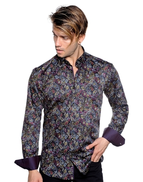 Black Paisley Dress Shirt - Luxury Sport Shirt