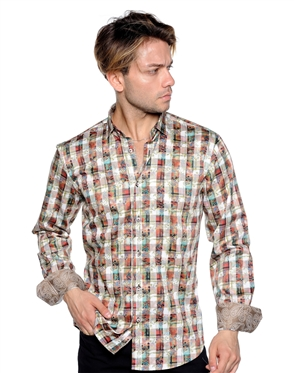 Multicolored Check Print Dress Shirt Men Casual Shirt