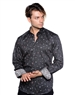 Black Floral Patterned Dress Shirt - Men Casual Shirt