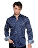 Navy Floral Patterned Shirt - Luxury Sport Shirt
