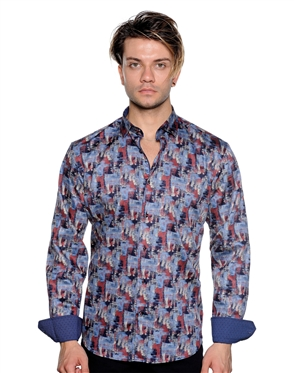Gradient Abstract Pattern Shirt - Men Casual Shirt