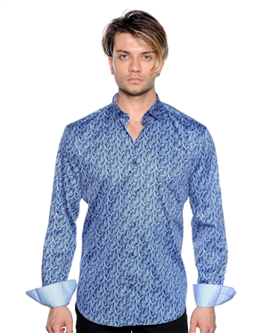 Navy And Blue Vine Print Shirt - Luxury Sport Shirt