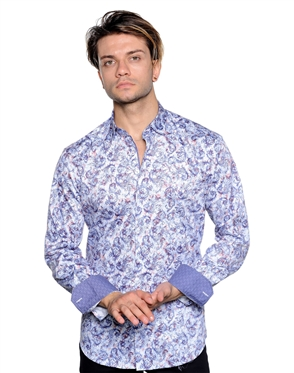 Fashionable White And Blue Paisley Shirt