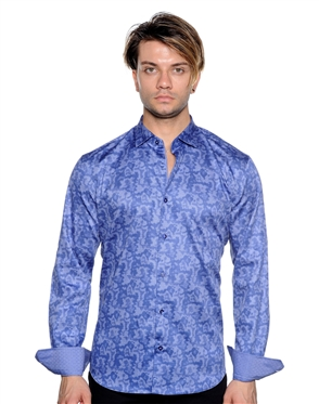 Unique Navy Dress Shirt - Men Casual Shirt