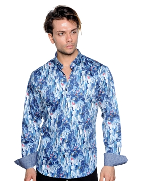 Abstract Art Pattern Shirt - Men Casual Shirt