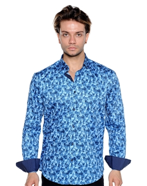 Navy White Print Shirt - Luxury Sport Shirt