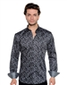 Black Abstract Print Shirt - Men Casual Shirt