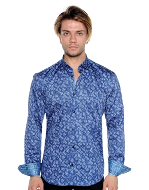 Navy Abstract Print Shirt