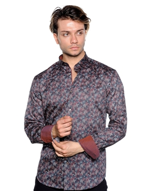 Burgundy Slim Fit Dress Shirt