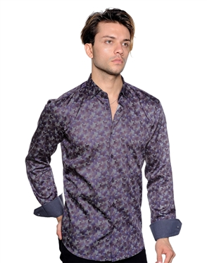 Purple Geometric Print Shirt