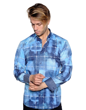 Artistic Blue Check Button Down - Casual Sport Shirt