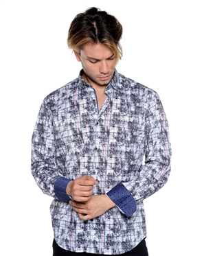 Abstract White Check Dress Shirt - Men Casual Shirt