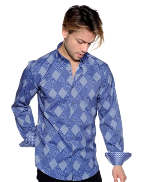 Navy Diamond Shirt - Men Casual Shirt