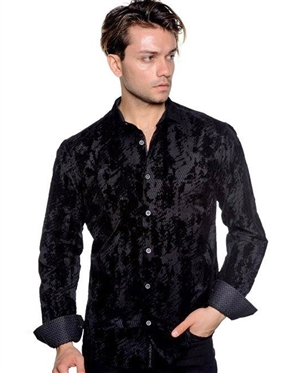 Black Flocking Jacquard Dress Shirt