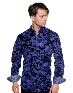 Multilayered Navy Dress Shirt