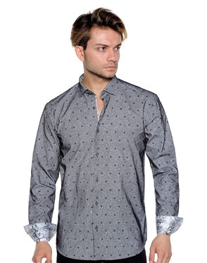 Dotted And Striped Dress Shirt - Men Casual Shirt