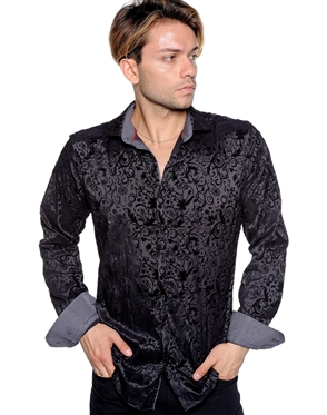 Tone-On-Tone Floral Pattern Shirt - Luxury Sport Shirt