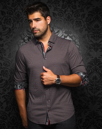 Designer Dress Shirt: Nuevelo Black Red