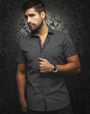 Casual Shirt: Black Short Sleeve Sport Shirt