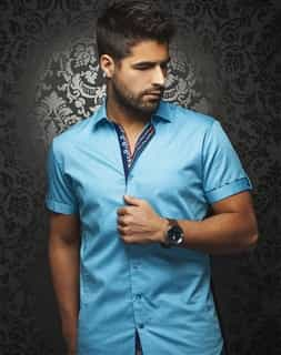 Casual Shirt: Turquoise Short Sleeve Sport Shirt