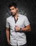 White Short Sleeve Casual Dress Shirt- Men fashion- AU  Noir