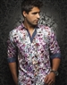 Luxury Shirt: Men White Floral Dress Shirt